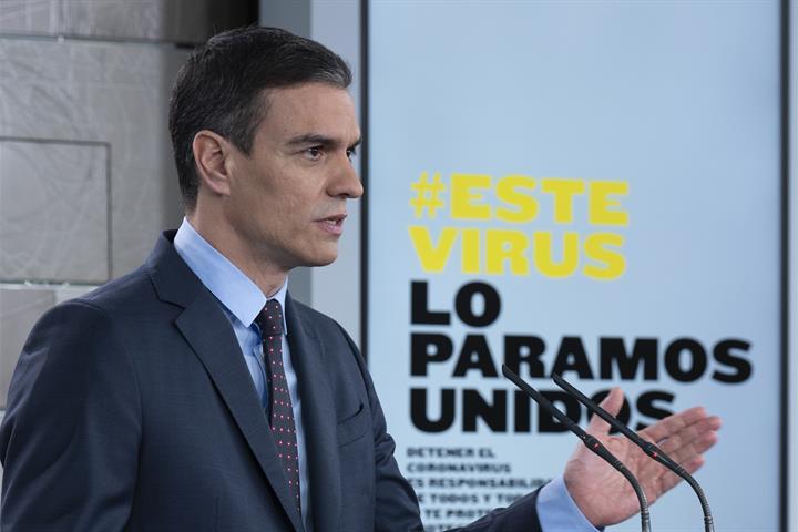 El presidente del Gobierno, Pedro Sánchez, en una comparecencia informativa en La Moncloa.